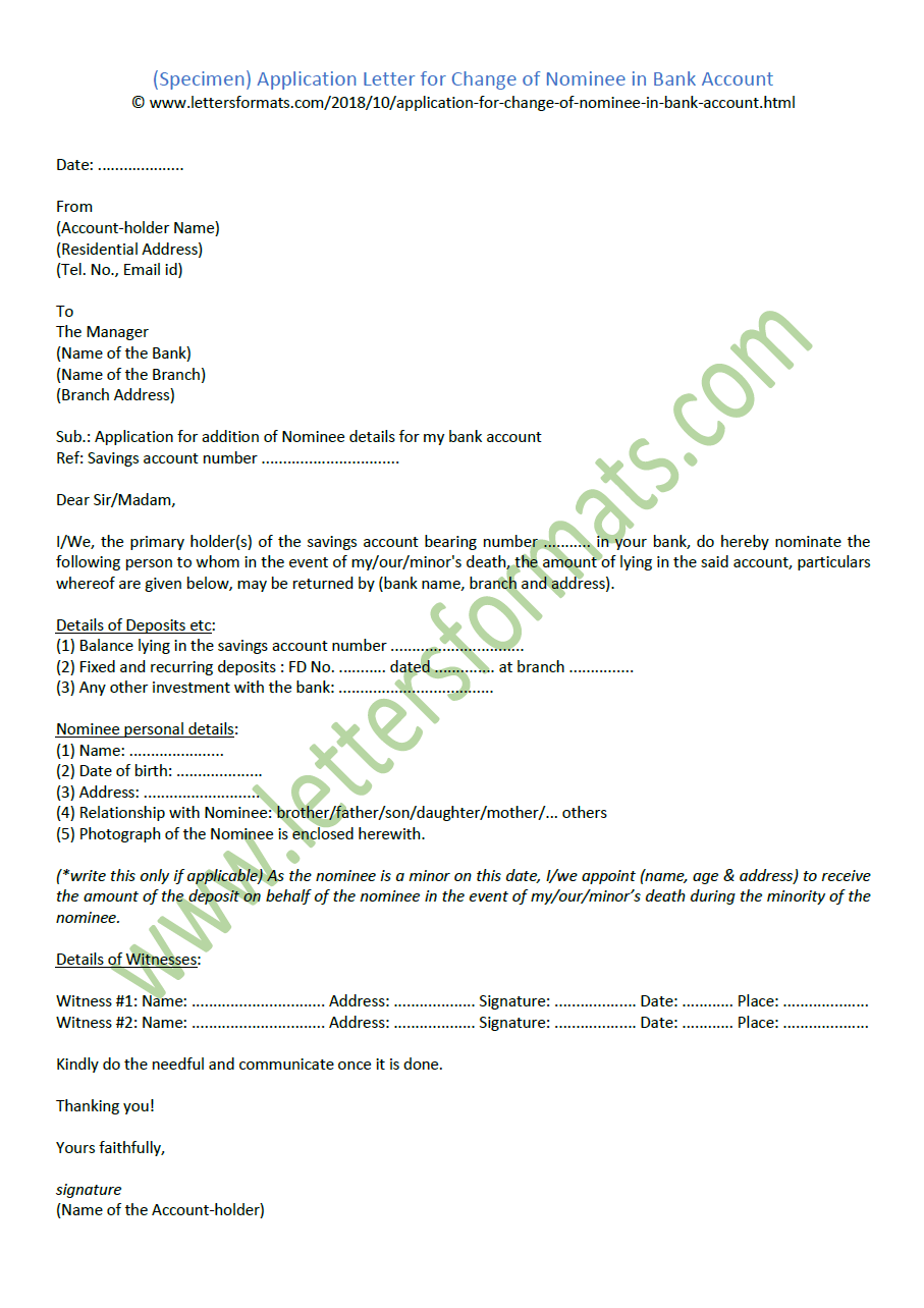 Application Letter for Change of Nominee in Bank Account