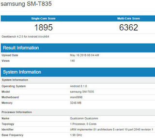 Samsung Galaxy Tab S4 Benchmark Listings Reveals Some Specs