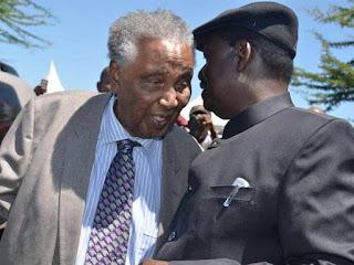 Raila Odinga with Ole Ntimama in Narok. July 2014. PHOTO | Courtesy