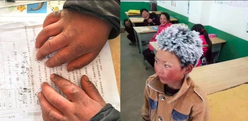A professora do garoto divulgou as imagens nas redes sociais após ser  surpreendida com a aparição do menino na escola. Por trás das imagens c3eb2c5ba1adb