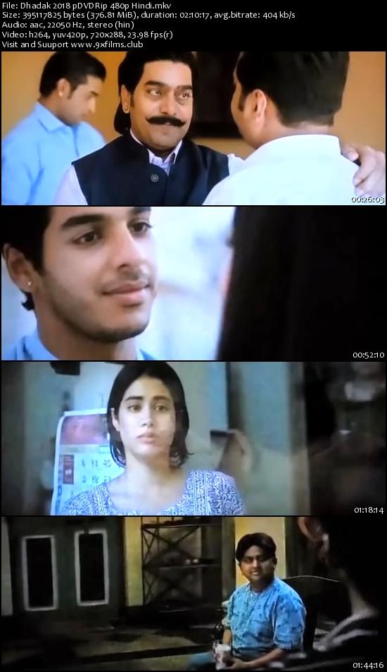 Dhadak 2018 pDVDRip 480p Hindi 300mb