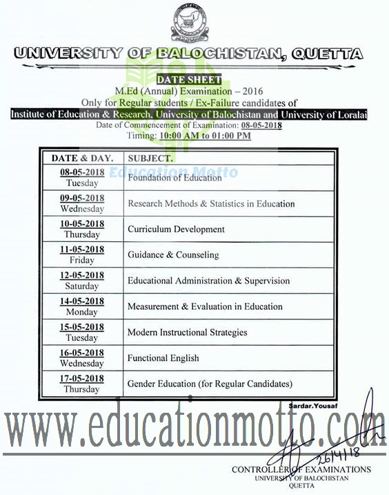 Date Sheet of M.Ed. (Annual) Examination 2018 at University of Balochistan, Download UoB Date Sheet of M.Ed. 2018, Date Sheet, M.Ed., University of Balochistan Quetta. UoB introduction,
