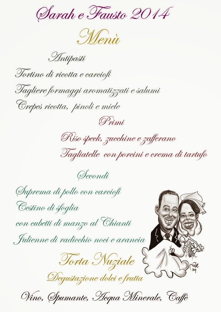 spesso L'arte non la metto da parte!: Menù Matrimonio con caricature OC75