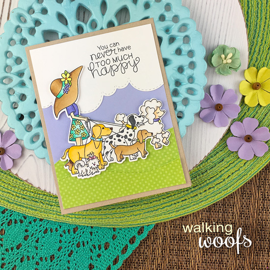 Happy Dog Walker Card by Jennifer Jackson | Walking Woofs Stamp Set, Sky Borders Die set and Land Borders Die Set by Newton's Nook Designs #newtonsnook #handmade