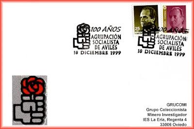 Tarjeta del matasellos del Centenario de la Agrupación Socialista de Avilés.