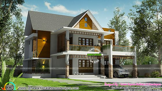 2591 sq-ft 4 bedroom modern sloping roof home