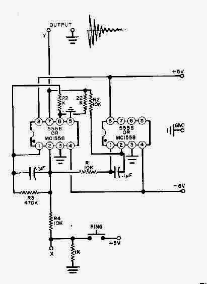 simple two 555 timers bell circuit diagram