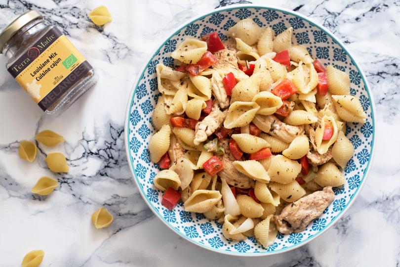 recette Pâtes au poulet sauce cajun