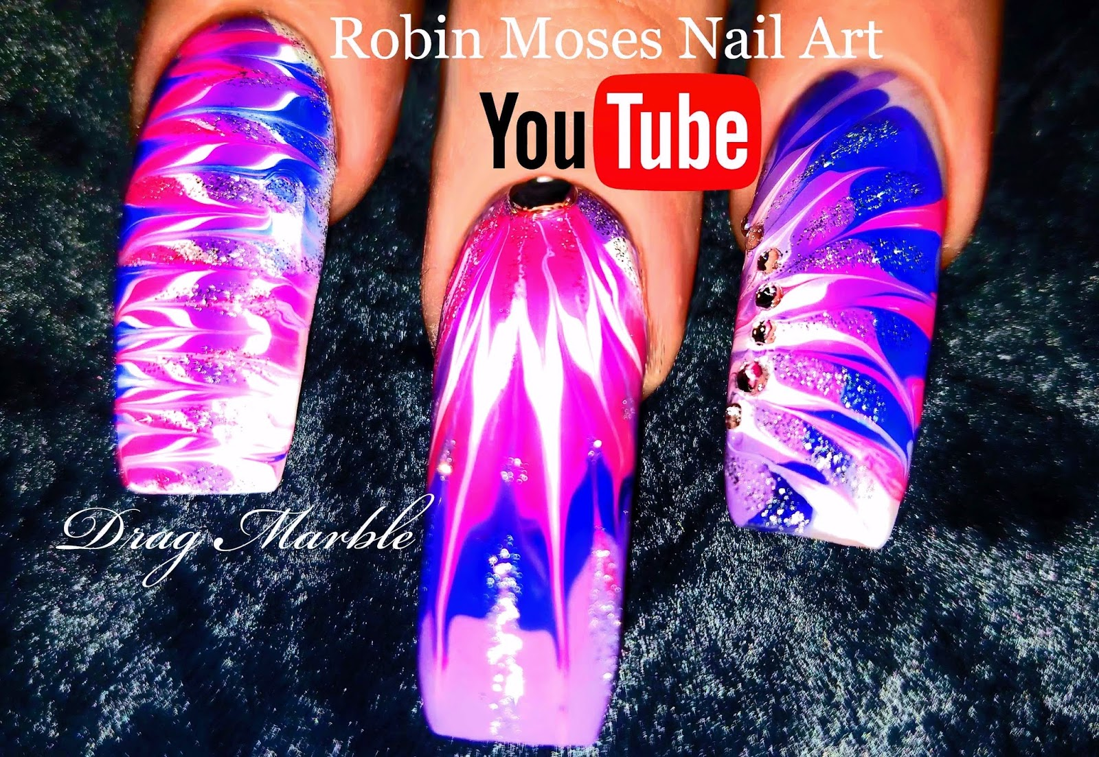 Nail Art by Robin Moses: Lavender and Pink No water Dry Drag Marble ...