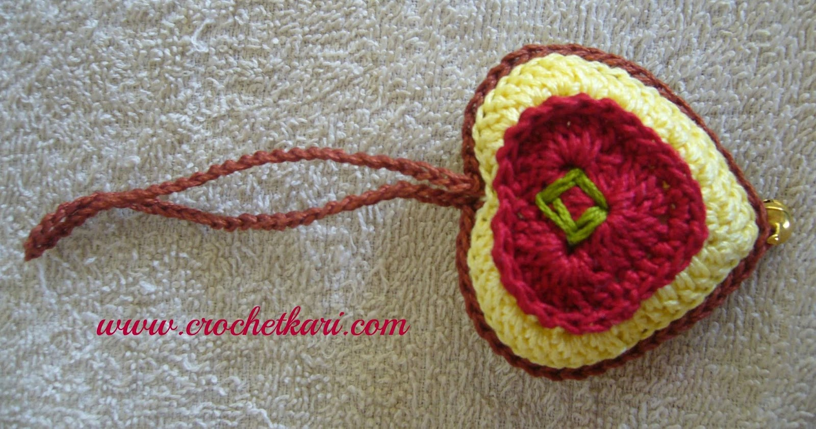 crochet heart ornament