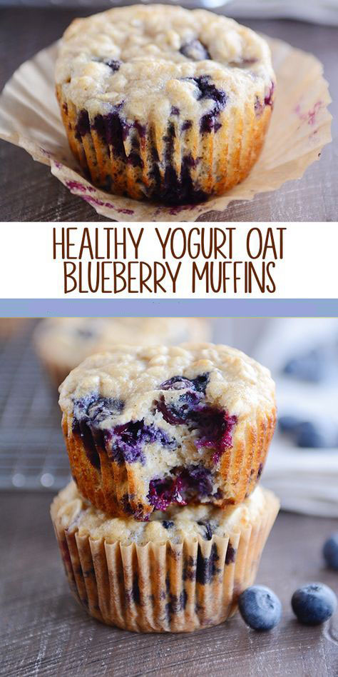 Healthy Yogurt Oat Blueberry Muffins