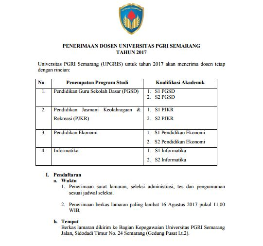 Lowongan Dosen Universitas PGRI Semarang Tahun 2017
