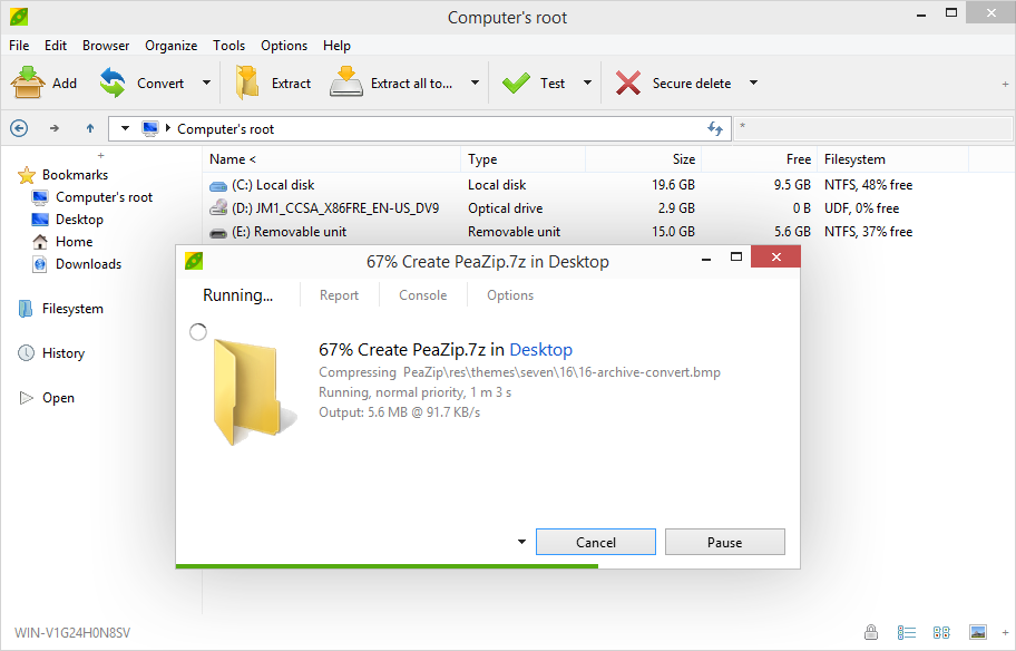PeaZip Open Source Zip utility and free Rar files extractor