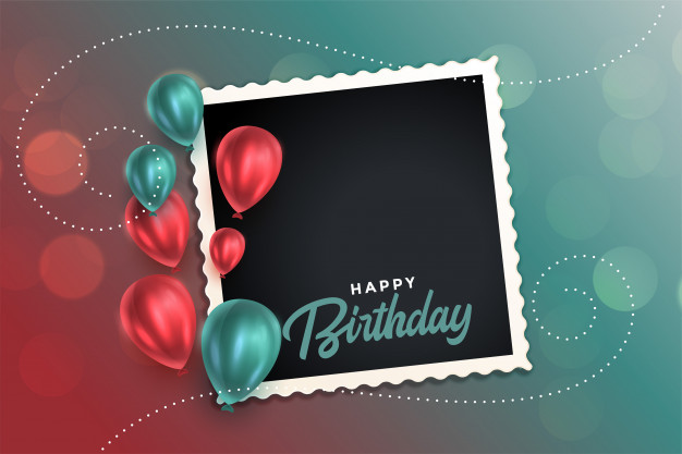 Beautiful happy birthday card with balloons and photo frame Free Vector