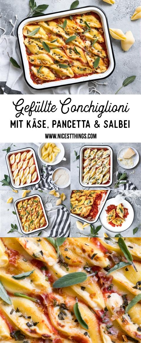 Gefüllte Conchiglioni Rezept, Muschelnudeln mit Käse (Taleggio), Pancetta, Salbei