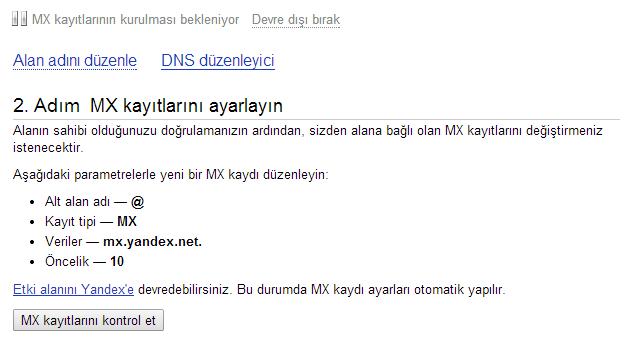 yandex kurumlar için mail servisi