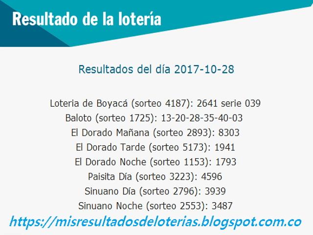 Como jugo la lotería anoche | Resultados diarios de la lotería y el chance | resultados del dia 28-10-2017