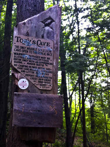 Sign Adjacent to Tory's Cave - Housatonic Range Trail