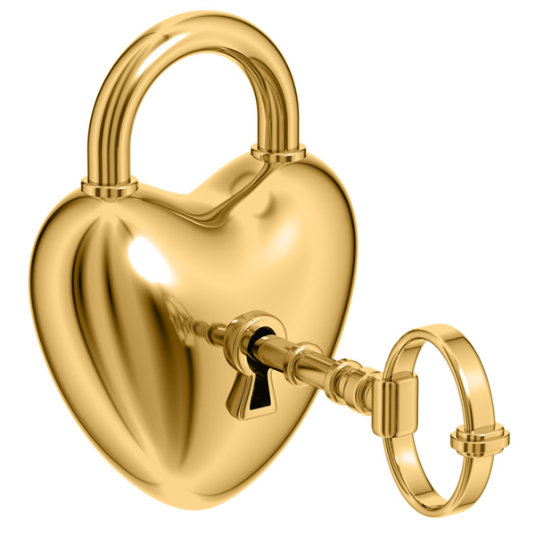 Gold Heart Lock and Key