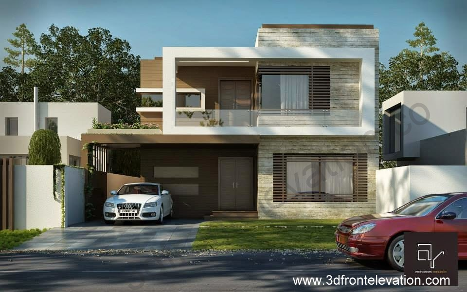 3 Marla House Front Elevation Designs : D front elevation marla modern contemporary