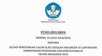 Pengumuman Hasil Seleksi Penerimaan Calon Guru Sekolah Indonesia di Luar Negeri Kemendikbud