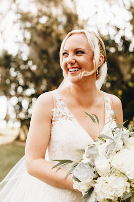 Beautiful bride and large bouquet
