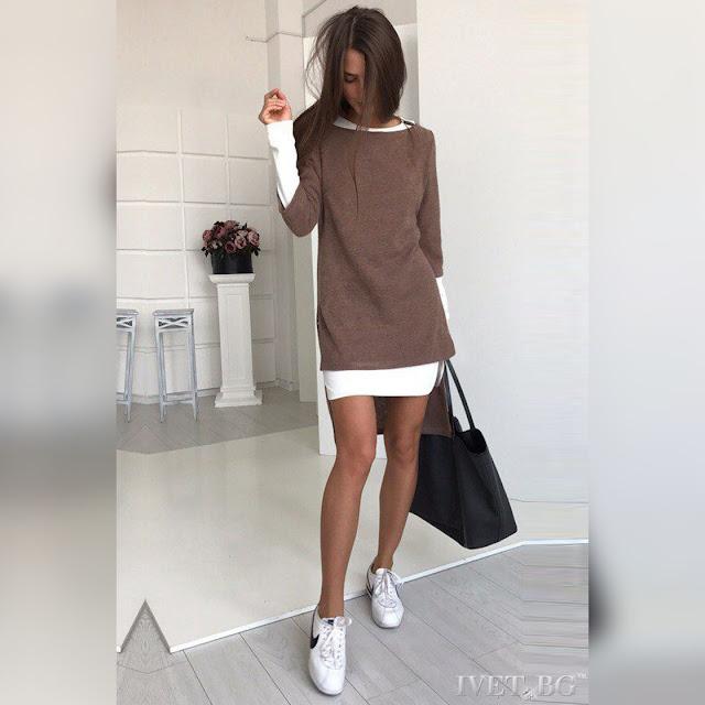Γυναικείο καφέ σύνολο LORENITA BROWN - Φόρεμα και τουνίκ