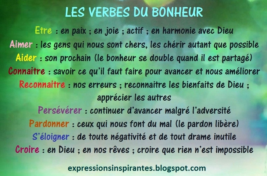 Expressions Conjuguer Les Verbes Du Bonheur