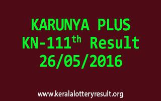 KARUNYA PLUS KN 111 Lottery Result 26-5-2016