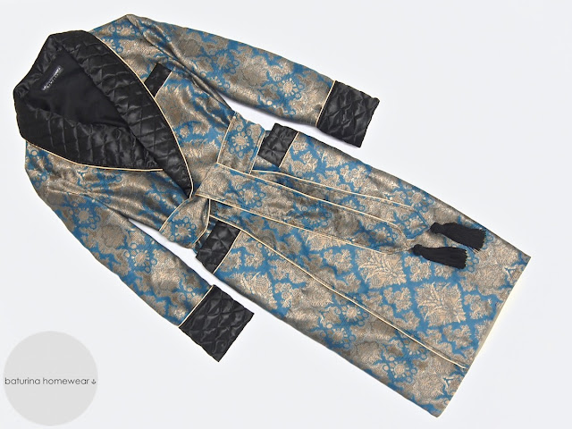 Herren Hausmantel edel elegant Morgenmantel lang Seide Paisley Englisch Dressing Gown