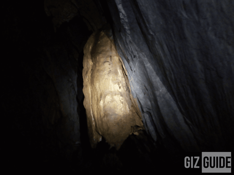 The half face of Jesus inside the underground river
