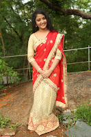 Akshara in Red Saree Golden Choli at LV Movie Makers Production No 1 Movie Opening ~  Exclusive 061.JPG