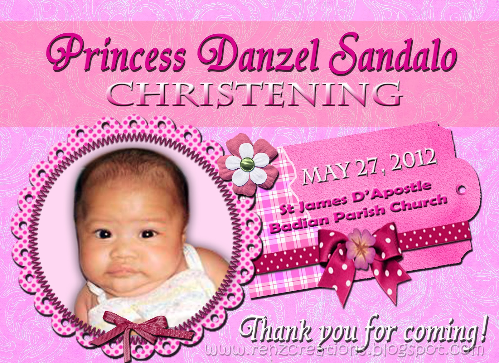 Renz Creations Invitations And Giveaways Princess Danzels Christening Giveaways