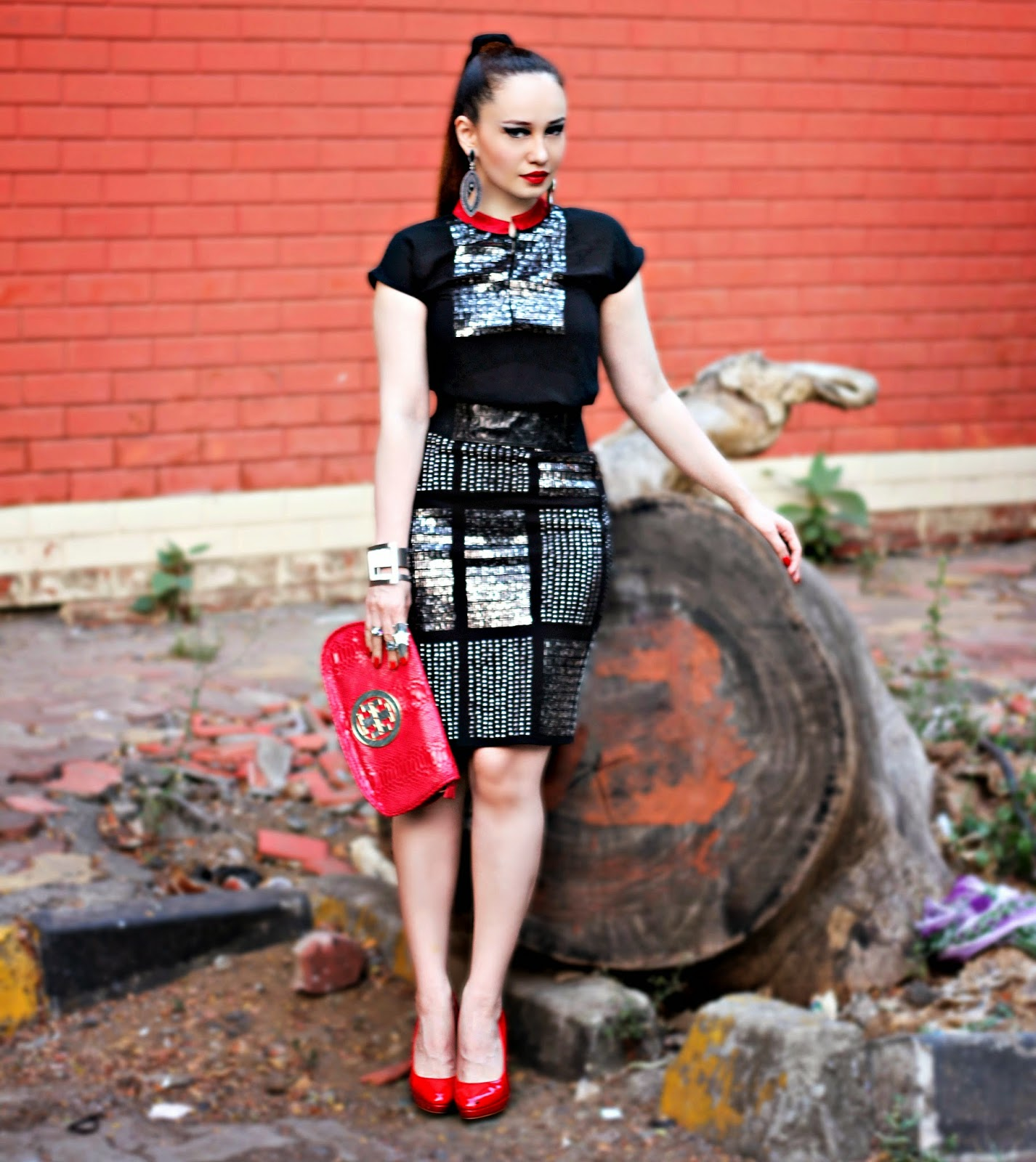 Vero Moda Marquee Black& Red Sequin Top & Black Sequin Skirt