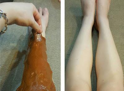 wax lông chân bằng chanh đào
