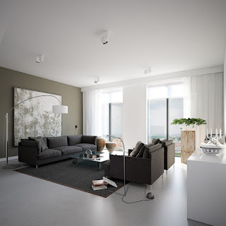 white floor lamp and grey fabric sofa design also low coffee table with glass top in modern interior design
