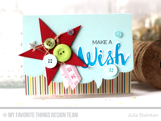 Make a Wish Card by Julia Stainton featuring the Laina Lamb Design Count the Stars stamp set and Die-namics, and the Stitched Star STAX and Stitched Speech Bubble Edges Die-namics #mftstamps