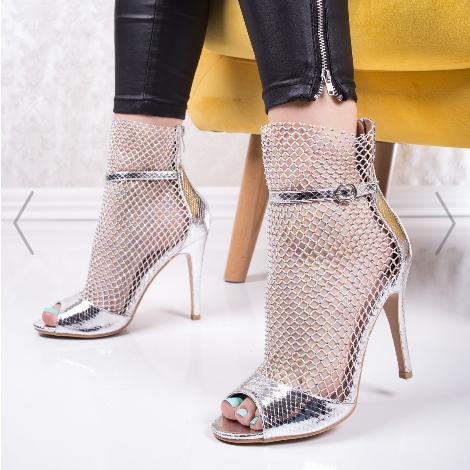 Sandale de ocazii elegante cu plasa cu toc argintii la moda
