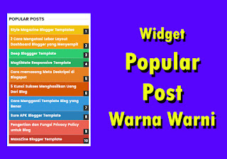 Cara Membuat Widget Popular Post Warna-Warni (Rainbow Popular Post)