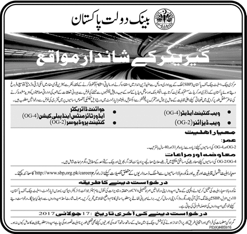 Joint Director, WebDesigner & other Jobs in State Bank Of Pakistan  July 2017
