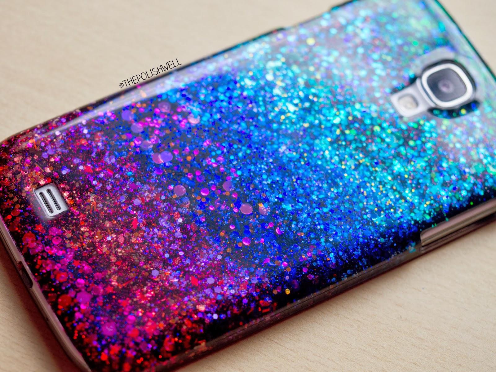 The polish well diy glitter phone cover - Como decorar una funda de movil transparente ...