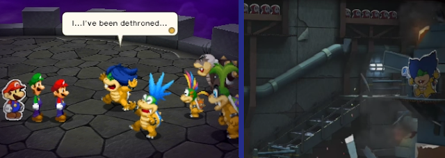 Ludwig Von Koopa defeated dethroned killed Paper Mario Color Splash Mario and Luigi Paper Jam hands up pose crying