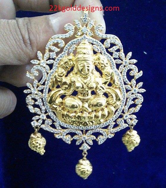 25 Grams CZS Gold Lakshmi Pendant