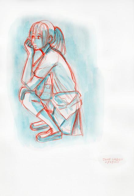 chica hecha con acuarela y lapices de colores