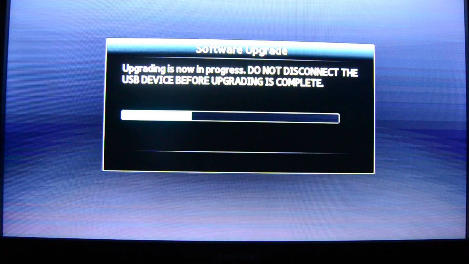 Updating firmware on blu ray player