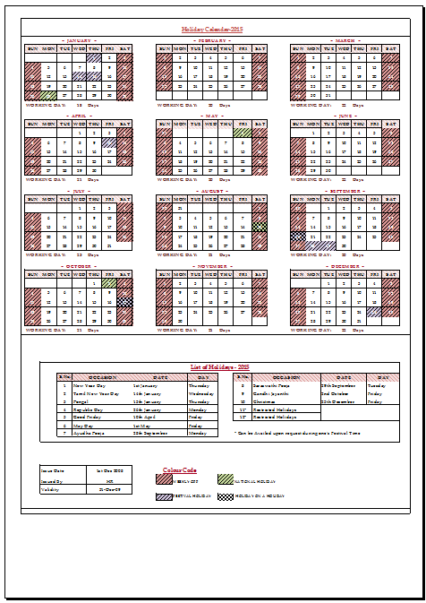 Captivating Holiday Calendar 2015 For India Sample Template Example Of Leave Calender  For.