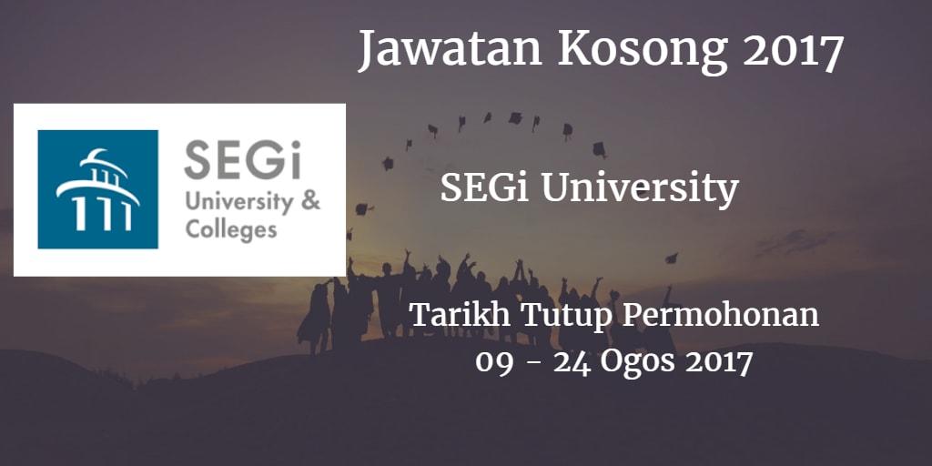 Jawatan Kosong SEGi University 09 - 24 Ogos 2017