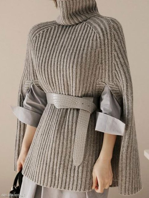 Cowl Neck Striped Cape Sleeve Half Sleeve Pullover - FashionMia Special Price:US$27.50