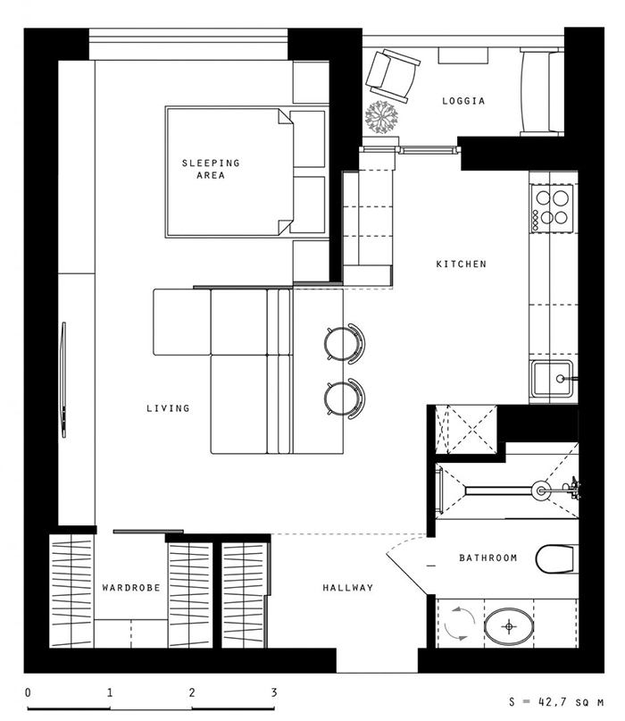 Thiết kế nội thất căn hộ chung cư nhỏ 42m2- 10