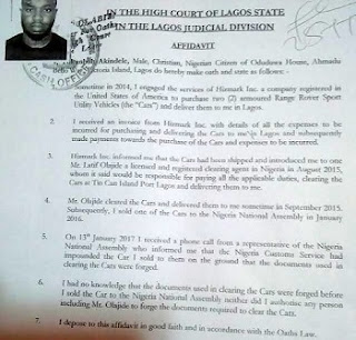 "Saraki SUV Scandal: A national assembly officer wrote to customs claiming the car belongs to the ""convoy of the senate"""